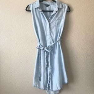 Hayes Jean Chambray Tie Button Down Blue Dress